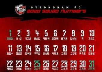 경남FC, 2020 시즌 선수단 배번 발표